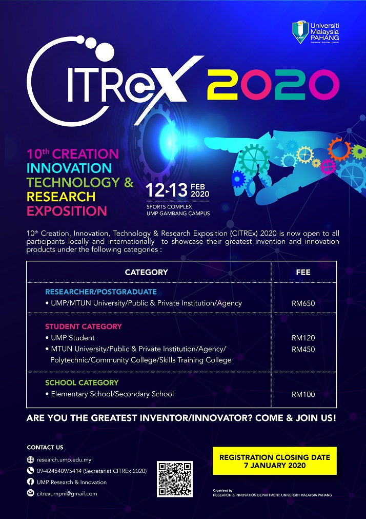 INVITATION TO PARTICIPATE 10TH CREATION, INNOVATION, TECHNOLOGY & RESEARCH EXPOSITION (CITREx) 2020